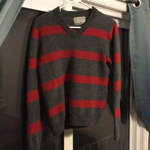 Gray and red striped v-neck Express sweater